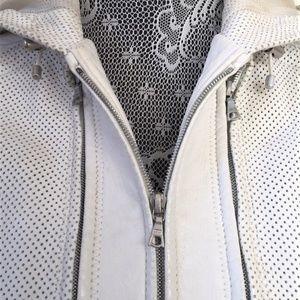 Elie Tahari Jackets & Coats - Aged White Perforated Leather Jacket sz XS